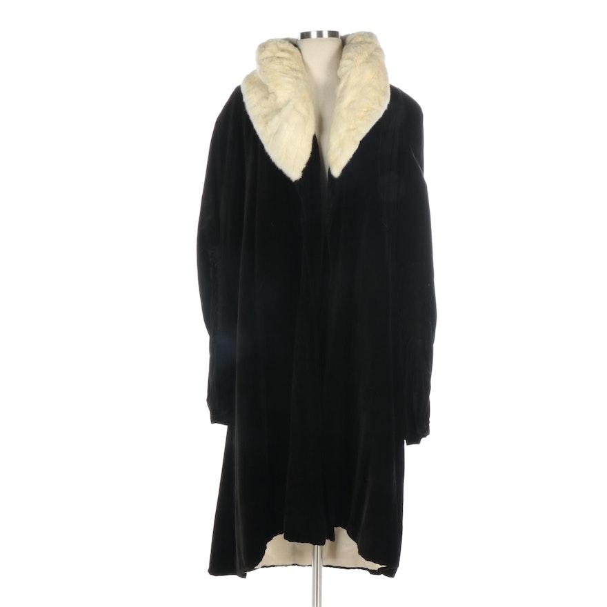 Black Velvet Opera Coat with Ermine Fur Collar from Bonwit Teller, Late 1920s
