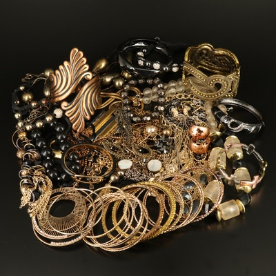 Bracelets, Necklaces and Earrings Including Rhinestones and Mother of Pearl