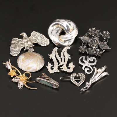Vintage Sterling Silver Brooches and Clips with Abalone and Gemstone Accents