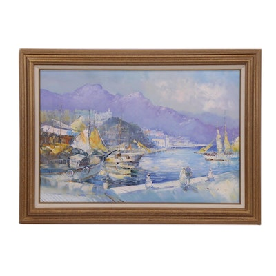 Impressionist Style Coastal Landscape Oil Painting, Late 20th Century