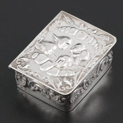 Sterling Silver Repoussé Tooth Fairy Box, Early 20th Century