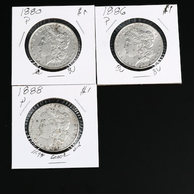 Three Morgan Silver Dollars, 1880s