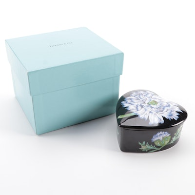 """Sybil Connolly for Tiffany & Co. """"Mrs. Delany's Flowers"""" Porcelain Heart Box"""