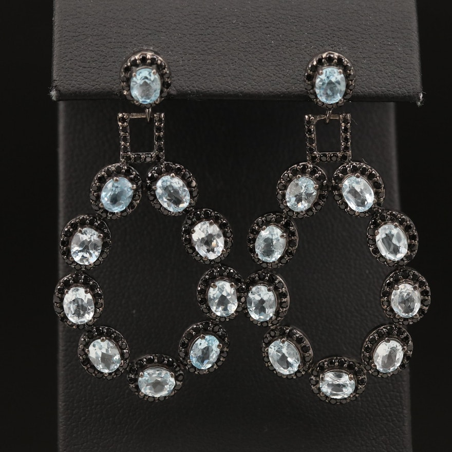 Sterling Topaz and Cubic Zirconia Drop Earrings