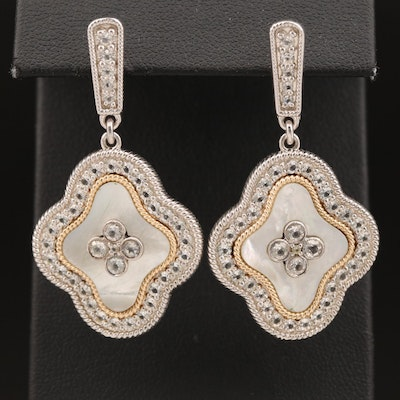 Sterling Mother of Pearl and White Topaz Quatrefoil Drop Earrings