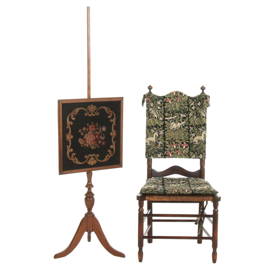 French Provincial Style Rush Seat Chair and Needlepoint Pole Stand Fire Screen