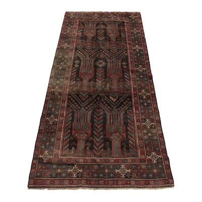 3'11 x 9'5 Hand-Knotted Persian Wool Runner Rug