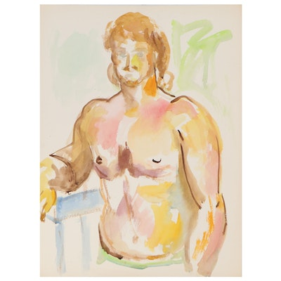 Yolanda Fresco Male Figure Watercolor Painting, Mid to Late 20th Century