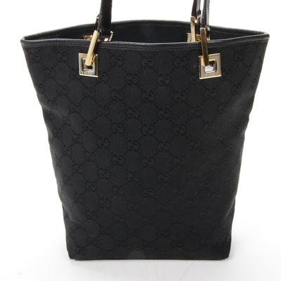 Gucci Bucket Shoulder Bag in Black GG Monogram Canvas and Leather
