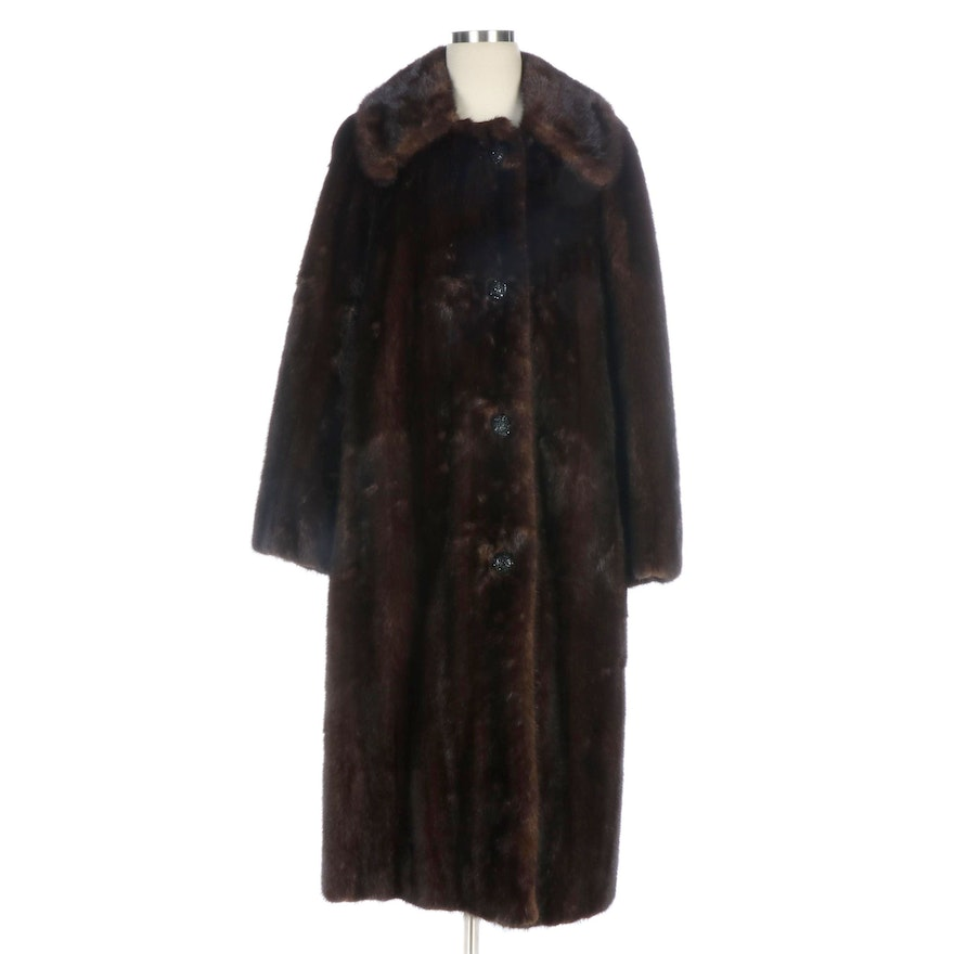 Brown Mink Fur Coat with Embellished Buttons from Gidding-Jenny, Vintage