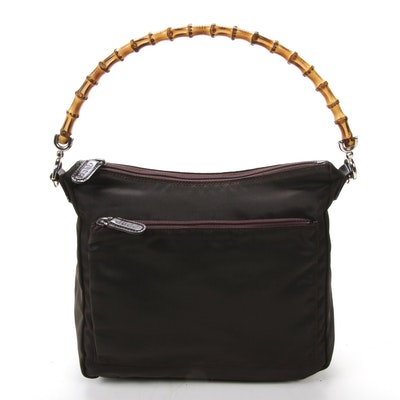 Gucci Bamboo Top Handle Bag in Brown Nylon and Patent Leather