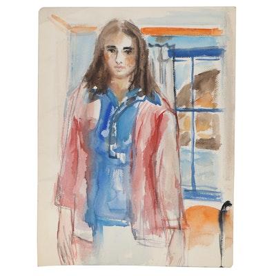 Yolanda Fusco Watercolor Painting of Woman in Red Jacket