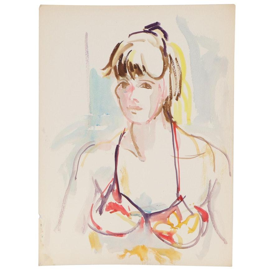 Yolanda Fusco Watercolor Painting of Woman in Bikini, Mid to Late 20th Century