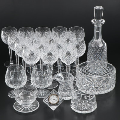 "Waterford Crystal ""Alana"" Decanter and Hock Glasses with Other Waterford Crystal"