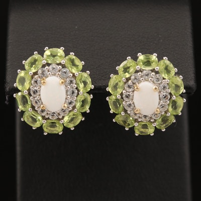 Sterling Silver Opal, White Topaz and Peridot Cluster Earrings