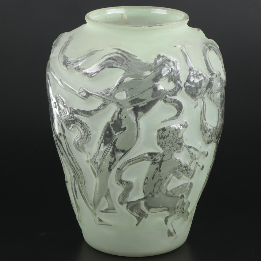 Phoenix Consolidated Style Mold Blown Art Glass Vase