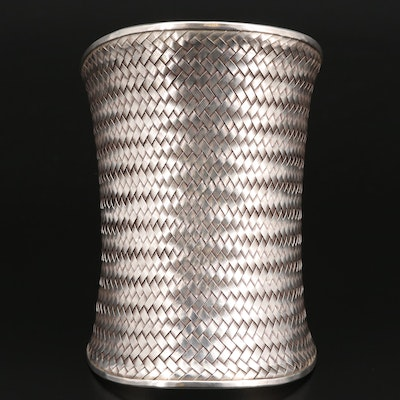 Sterling Silver Woven Concave Cuff Bracelet