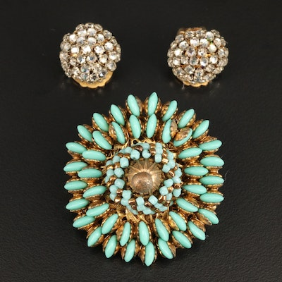 Vintage Miriam Haskell Brooch and Clip-On Earrings