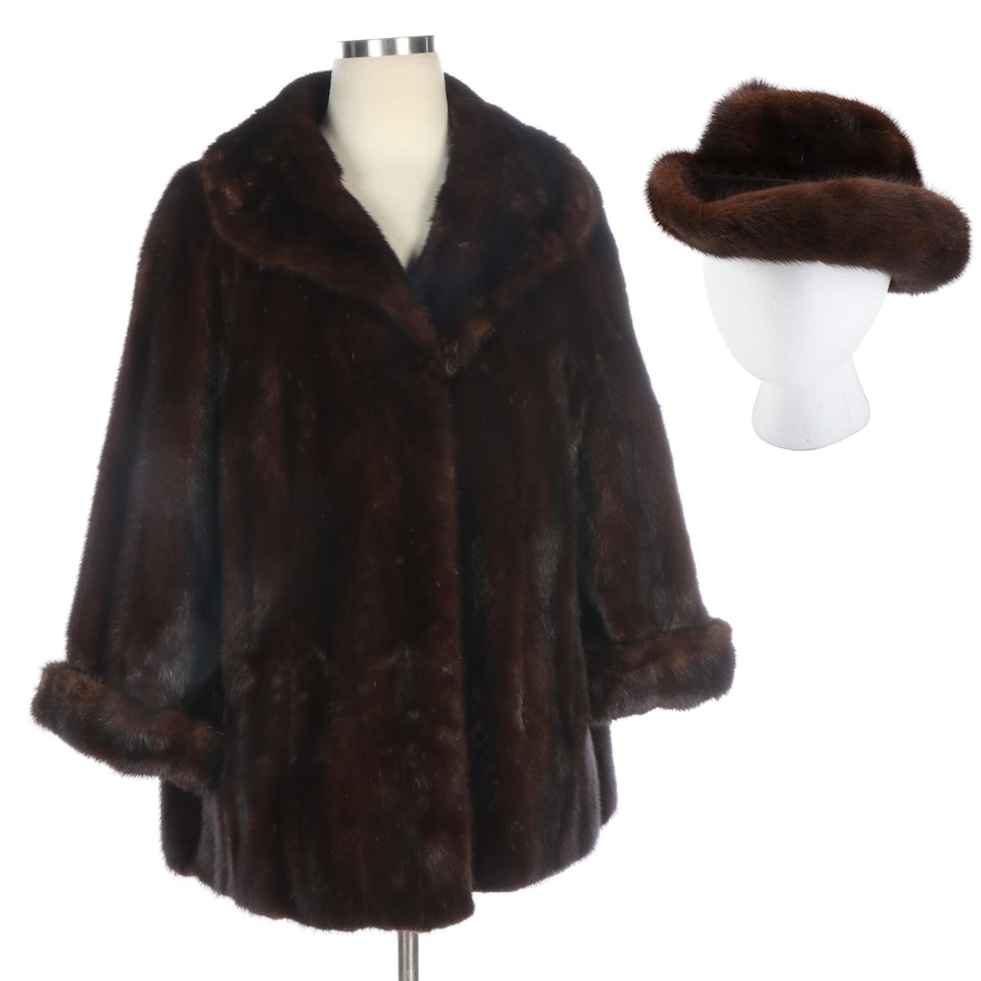 Brown Mink Fur Jacket and Hat from Pogue's, Cincinnati, Mid-20th Century