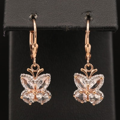 Sterling Silver Morganite Butterfly Earrings