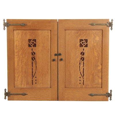 Arts and Crafts Style Oak and Mica Handmade Hinged Cabinet Doors