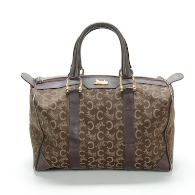 Celine Paris Satchel in Monogram Canvas and Leather