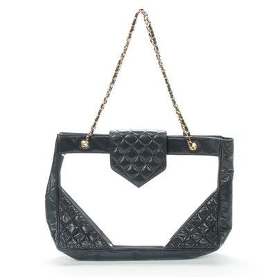 Chanel Chain Strap Tote in PVC and Navy Quilted Leather