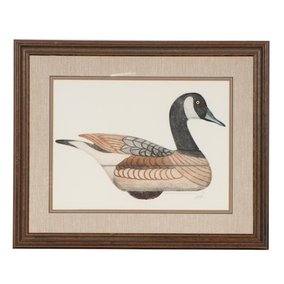 "Color Lithograph ""Canada Goose Decoy, 1/2 Scale,"" 1945"