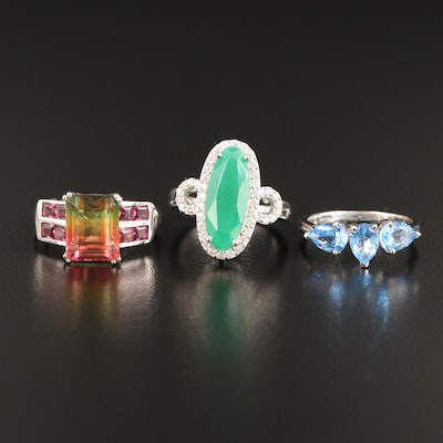 Sterling Silver Gemstone Rings Including Quartz and Garnet