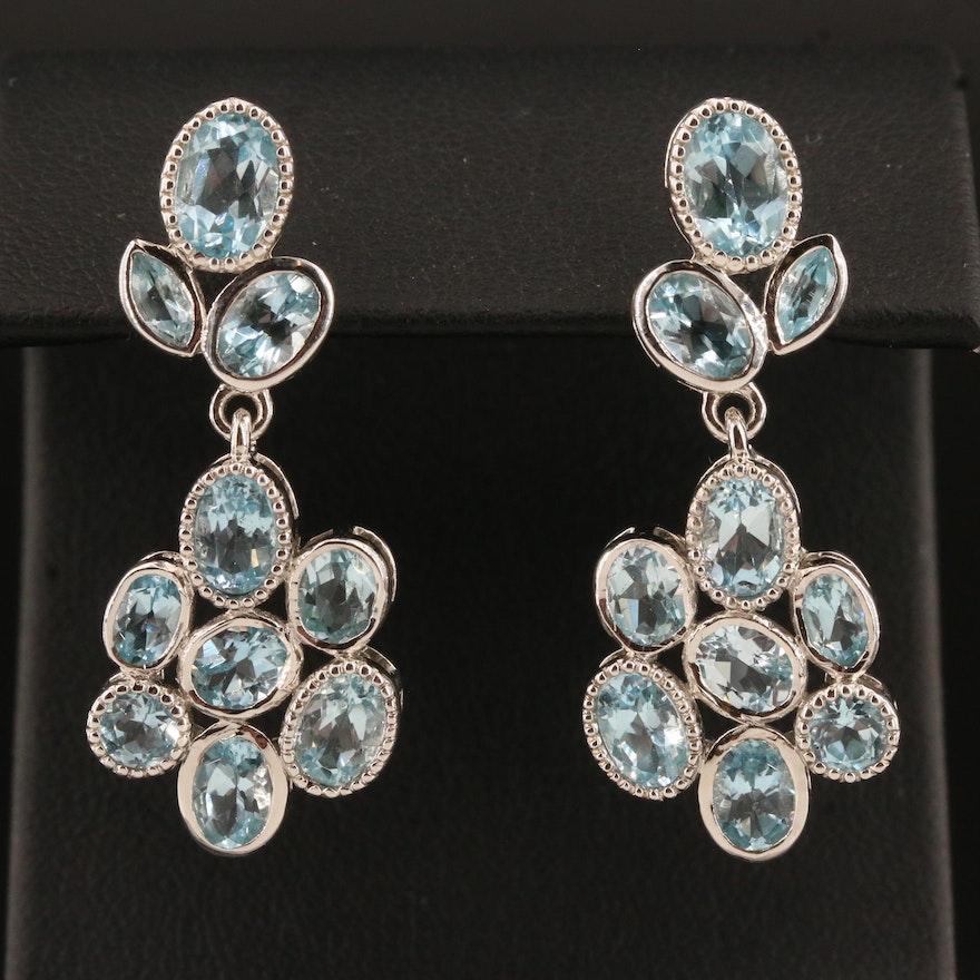 Sterling Silver Topaz Cluster Drop Earrings
