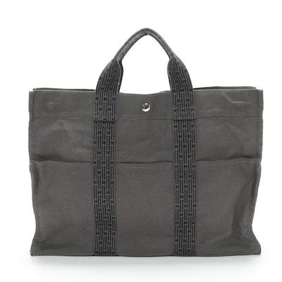 Hermès Paris Herline MM Tote in Black/Grey Canvas