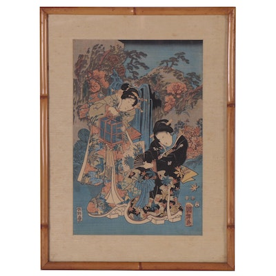Japanese Woodblock of Two Figures, 19th Century