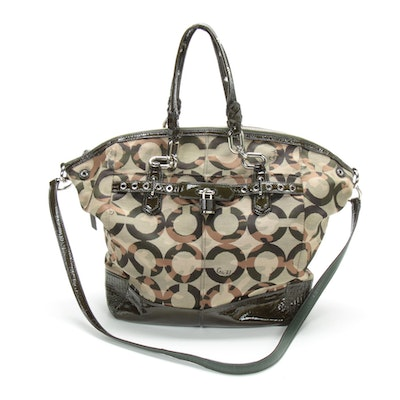 Coach Chelsea Camo Large Emerson Canvas and Patent Leather Two-Way Tote Bag
