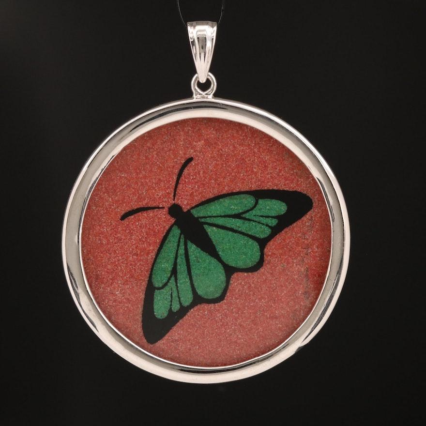 Sterling Glass Butterfly Pendant