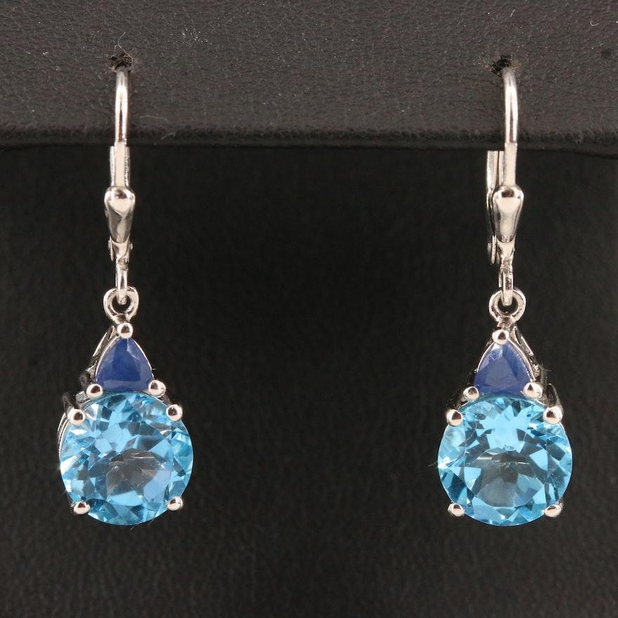 Sterling Silver Topaz and Kyanite Drop Earrings