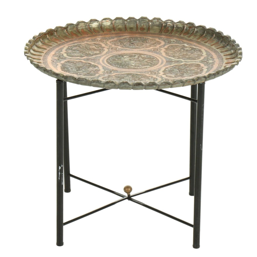Indo-Persian Copper Pictorial Tray on Folding Stand