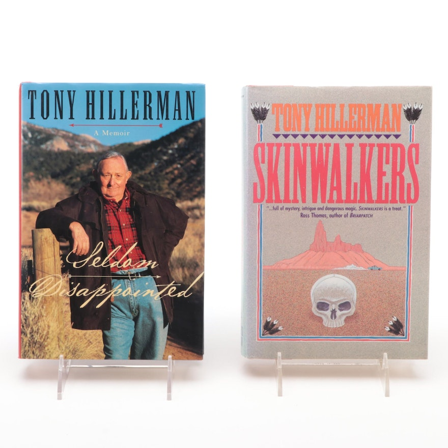 """Signed First Editions """"Seldom Disappointed"""" and """"Skinwalkers"""" by Tony Hillerman"""