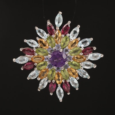 Sterling Topaz, Amethyst, Citrine and Peridot Converter Brooch