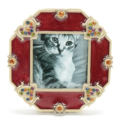 Jay Strongwater Enamel and Rhinestone Picture Frame