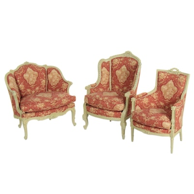 Three Painted and Custom-Upholstered Bergères, 20th Century