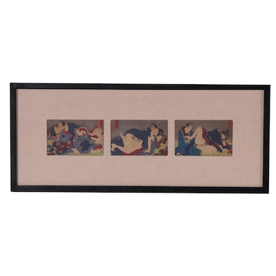 Japanese Erotic Shunga Woodblocks, Mid to Late 19th Century
