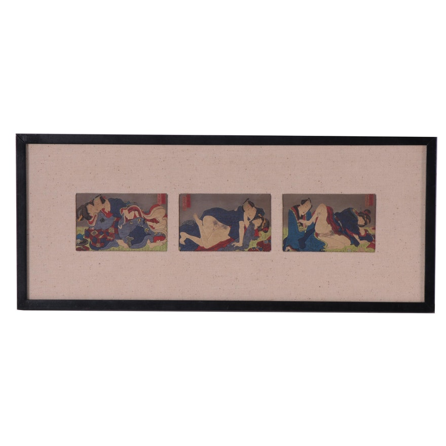 Japanese Erotic Shunga Woodblocks, Mid to Late 19th Century