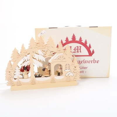 Holzkunstgewerbe Michael Müller Handmade Wood Christmas Scene with Lights
