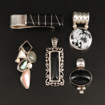 Sterling Pendants and Money Clip with Abalone, Black Onyx and Mother of Pearl