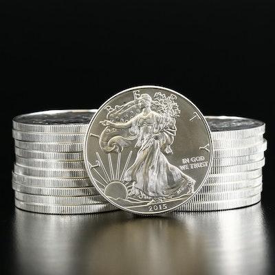 Twenty 2015 $1 American Silver Eagle Bullion Coins