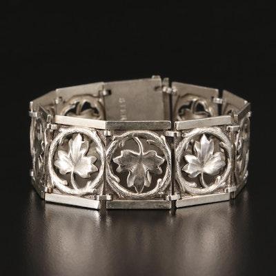 Vintage Sterling Silver Foliate Panel Bracelet