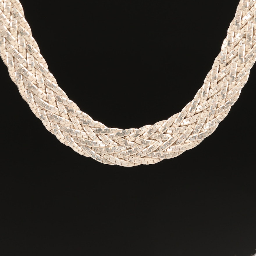 Sterling Woven C Link Necklace