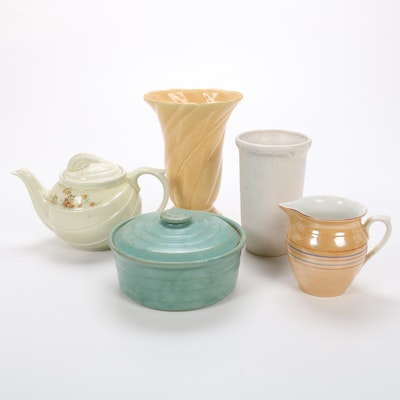 Art Deco Style Earthenware Vases and Tableware, Early to Mid 20th Century