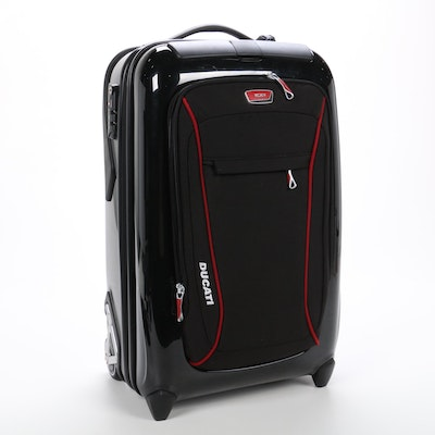 """Tumi Ducati """"Quattroporte"""" Limited Edition Red and Black Rolling Suitcase"""
