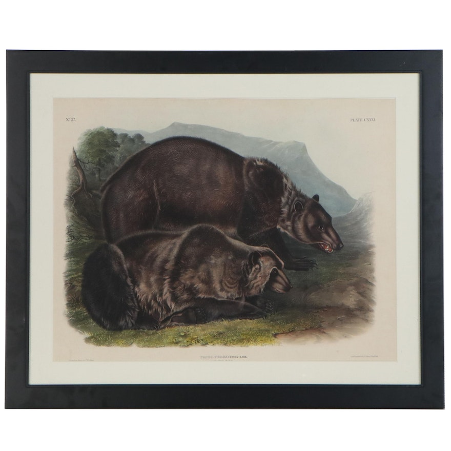 """John Woodhouse Audubon Hand-Colored Lithograph """"Grizzly Bear,"""" 1848"""